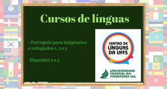 """Imagem com fundo com bandeiras, um quadro negro com o texto """"Cursos de línguas - Português para imigrantes e refugiados 1, 2 e 3; Espanhol 2 e 3"""", a marca do CELUFFS  e da UFFS"""
