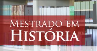 """Imagem de fundo com livros em uma prateleira e, à frente, o texto """"Mestrado em História"""""""