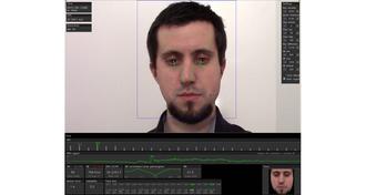 Foto do professor em um programa que analisa pontos do rosto para identificar stress ou tédio durante jogos