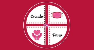 Logo do Projeto Escudo de Pano, com fundo de cor marsala