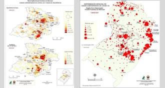 Imagem de dois mapas produzidos pelos membros do projeto