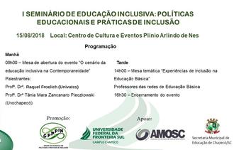 cartaz com a programação do seminário