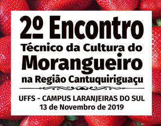 ao fundo da imagem uma foto com morangos, a frente os dizeres 2º Encontro Técnico da Cultura do Morangueiro na Região Cantuquiriguaçu; UFFS - Campus Laranjeiras do Sul; 13 de novembro de 2019