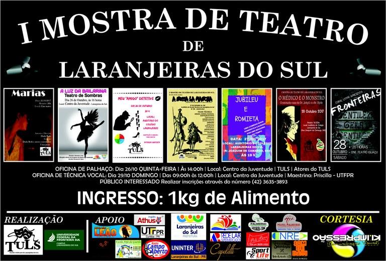 Cartaz I Mostra de Teatro de Laranjeiras do Sul