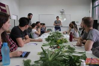 Pessoas participando de palestra. Sobre a mesa, há diversas plantas.