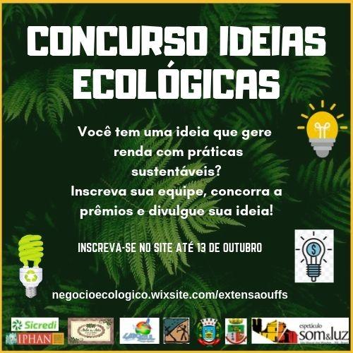 Cartaz com informações sobre evento concurso Ideias Ecológicas