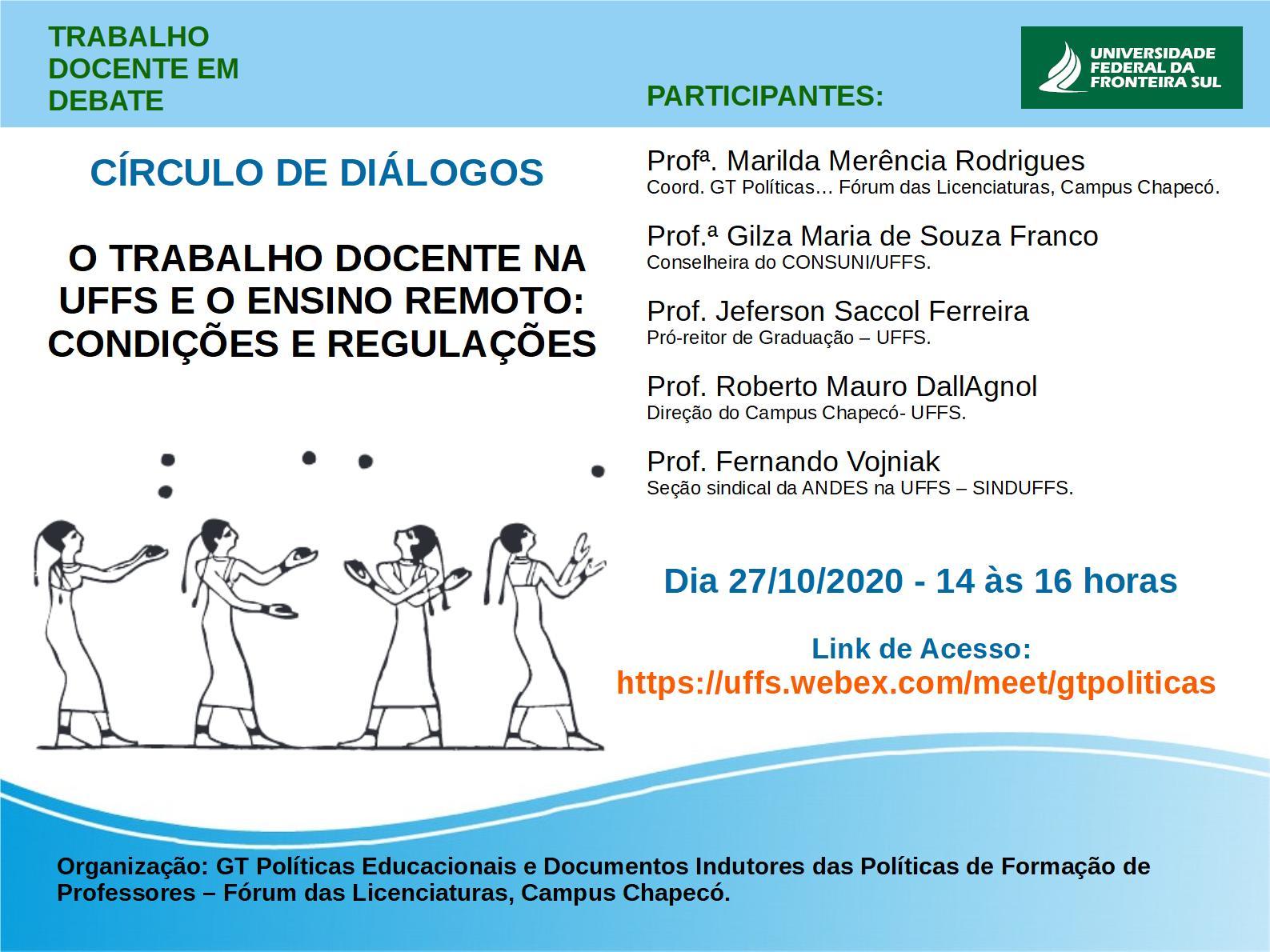 Círculo de Diálogos O trabalho Docente na UFFS e o ensino remoto: condições e regulações