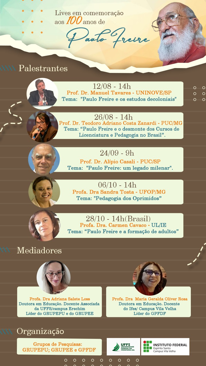 Grupos de pesquisas promovem lives sobre Paulo Freire