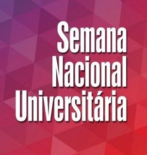 Ilustração com fundo degradê em rosa, roxo e vermelho, com a escrita Semana Nacional Universitária em branco